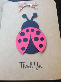 Ladybug Thank You Cards Handmade for Kid's Birthday Party or Baby Shower on Kraft Paper, Set of 8 Thank You Cards #ladybugbirthday #ladybugshower