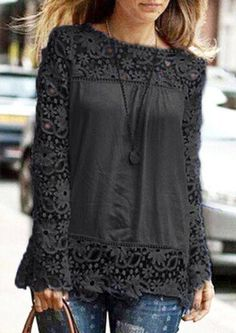 Plus Size Women'S Lace Shoulder Long Sleeve Blouse Autumn Casual Hollow Out Lace Tops Ol Chiffon Shirts Blusas Black XXL Basic Fashion, Look Fashion, Fashion Women, Chiffon Shirt, Lace Chiffon, Chiffon Blouses, Lace Tops, Pretty Outfits, Passion For Fashion