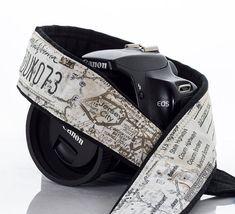Map Camera Strap, Men's, Women's, dSLR, SLR, Camera Neck Strap, Canon camera strap, Nikon camera strap, Pocket, Mirrorless, Photography 254