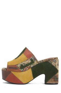 Jeffrey Campbell Shoes DEVORAH Platforms in Yellow Green Combo