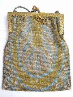 Antique Metal mesh Beadwork Evening Bag