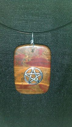 Italian Onyx with Pentacle Necklace one of a kind Wicca