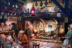 In the Pub - Anton Pieck, Dutch painter, artist and graphic artist.