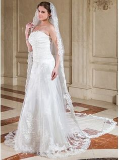 One-tier Cathedral Bridal Veils With Lace Applique Edge (006041348) - JJsHouse