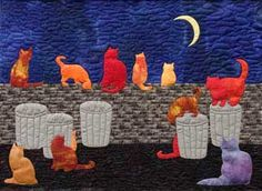 Silhouette Series Art Quilt Patterns are graphic applique art quilt patterns by Cornelia Carpenter. These wall hanging sized quilt patterns include Serengeti Sunset, Nautical Nights, and All Cat Jazz, Jungle Jamboree, and Classic Urns. Cat Crafts, Sewing Crafts, Nautical Quilt, Cat Applique, Applique Quilt Patterns, Cat Fabric, Animal Quilts, Quilting Projects, Quilting Ideas