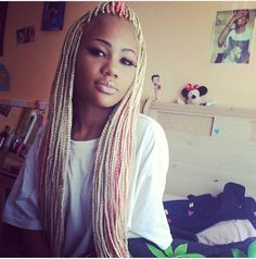 Blonde and pink box braids with weave. I LOVE THESE!!!!! so cute