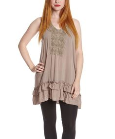 Taupe Embroidered Tunic by Simply Irresistible #zulily #zulilyfinds