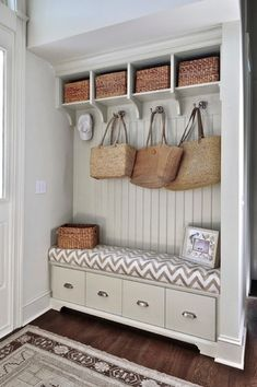 Have tongue and groove paneling and storage bench to save on cost of custom cabinets? Mudroom off entryway with pale greige built-in storage bench with tongue and groove paneled backsplash topped with open storage cubbies. Home Design, Interior Design, Porch Interior Ideas, Design Blogs, Interior Livingroom, Design Design, Beach Design, Porch Ideas, Custom Design