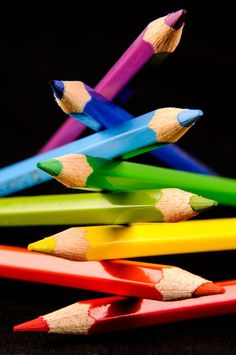 Stacked Colored Pencils - Black background