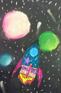 rocket ships and spherical planets with chalk pastels (1st grade - great introduction to chalk and value)