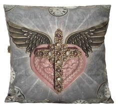 Van Asch Lilac Relics #cushion #cushions  #sacredheartcushion #sacredheart #interiors #interiorstyle #lilac #heart #trends #eccentric #interiörs #inredning #happyhome #sofaart #pillows #pillow #crucifix #cross #clocks