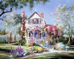 Beautiful Victorian home hidden among beds of flowers.  (Dream, gardens, Fairytale, magical, whimsical)