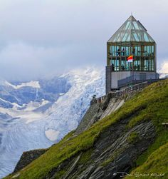 View On the the glacier Pasterze And Observation Tower Swarovski (2369m)
