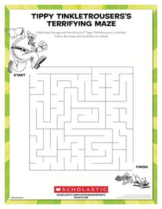 George and Harold need help escaping Tippy Tinkletrousers's clutches! Ask your child to lead them to safety through this maze. Inspired by Dav Pilkey's Captain Underpants series. Beginning Reading, Free Reading, Indoor Activities For Kids, Book Activities, Printable Mazes, Printables, Captain Underpants Series, Maze Worksheet, Writing Worksheets