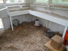 smart interior coop design. roost placed above table to catch droppings. easy cleaning.