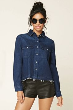 Is it a shirt? Is it a jacket? Let's just call it a shacket. Forever21 Distressed Denim Jacket, $37.90, available at Forever21. #refinery29 http://www.refinery29.com/best-clothing-under-100-dollars#slide-28