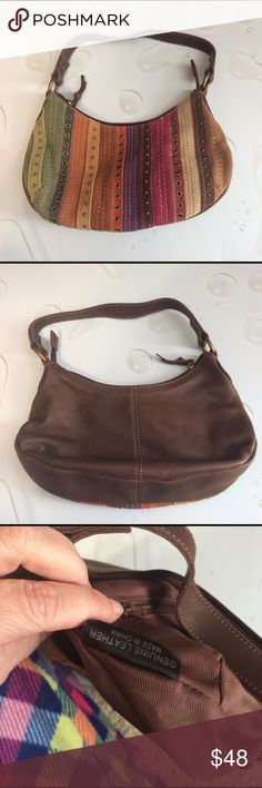 """BOGO Fossil Brand Patchwork Leather Handbag Gently used. Super Cute Fossil Brand Brown and Colorful. Patchwork Leather Handbag. Strap measures approximately 16 inches. Approximately 11 inches wide and 7 inches tall.  In super great shape. Very little usage of item.      Don't be afraid to hit the """"Offer Button"""" if you don't like my pricing!  Fossil Bags"""
