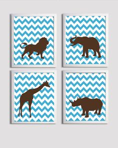 Nursery Art Chevron Brown Blue Safari Animals - Not the typical baby animals you see... maybe?
