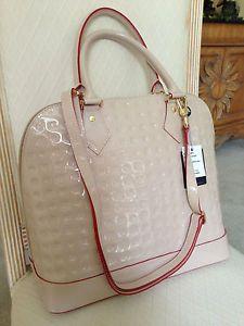 Arcadia Designer Beige Italian Embossed Leather Shoulder Bag Handbag Nwt Msrp