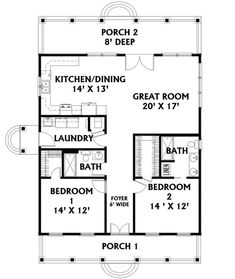 The Holgate Bend Cottage Home has 2 bedrooms and 2 full baths. See amenities for Plan 028D-0064.