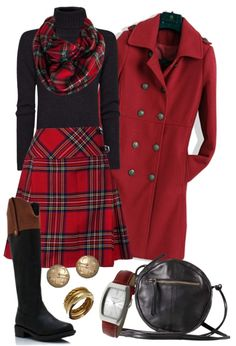 """Chic tartan"" by gangdise ❤ liked on Polyvore  - Love the tartan & the red coat!!"