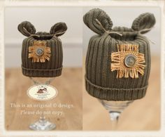 Newborn Boys/Unisex Limited Edition BEAR ribbed knit up-cycled beanie hat embellished with Hessian & a button. Photography prop by AndreasPropBoutique