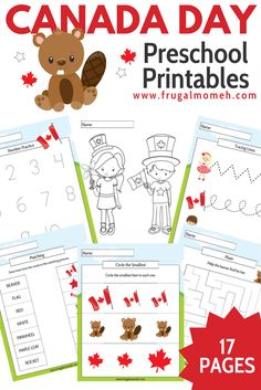 17 Fun Pages of printable Canada Day themed worksheets (for Pre-Kindergarten to Grade 1 aged kids!) You are going to love this Free Printable Canada Day Preschool Activity Book for kids. Preschool Activity Books, Free Preschool, Preschool Printables, Kids Learning Activities, Free Printables, Independence Day Activities, Remembrance Day Activities, Kindergarten Activities, Pre Kindergarten