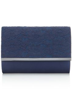 Boxy Lace Overlay Clutch Bag | Navy | Accessorize