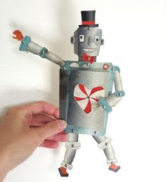 Valentine's Day Robot Printable PDF Paper Doll Set Blue, Gray, Orange, Paper Toy