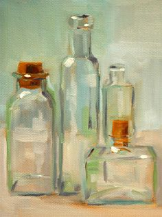 Still Life Oil Painting Bottle Collection by smallimpressions
