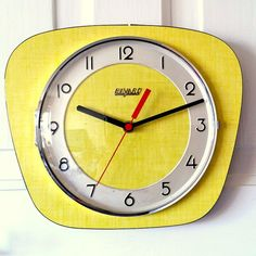 Retro Vintage 60's French Yellow Formica Kitchen Winding Wall Clock made by Bayard.