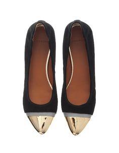 Givenchy Gold Cap Ballet Flats