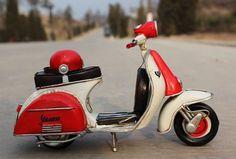 OurSanli:: Handmade Antique Tin Model Motorbike -VESPA Scooter 1958 Type2 - Handmade Tin Model MotorCycle