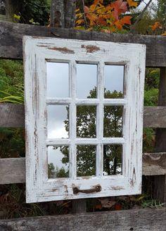 43 New Ideas Farmhouse Windows Pane White Wall Mirrors, Shabby Chic Mirror, Window Mirror, Mirror Wall Living Room, Mirror Interior Design, Large Wall Mirror, Country Wall Decor, French Farmhouse Decor, Mirror Wall