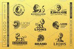 Lion logo set. Premium Icons