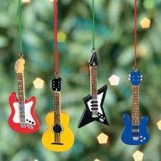 This guitar ornament set includes four great guitar themed Christmas ornaments. The guitar ornament set features different styles of guitars. Christmas Tree Themes, Christmas Tree Ornaments, Christmas Holidays, Christmas Crafts, Holiday Decor, Music Ornaments, Xmas, Cork Ornaments, Christmas Jingles