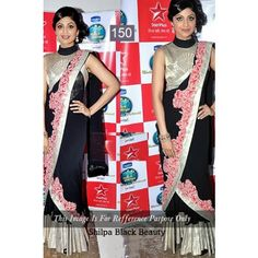 shilpa shetty black beauty designer saree