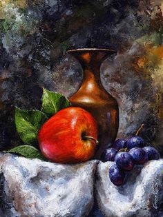 Emerico Toth Apple and grapes print for sale. Shop for Emerico Toth Apple and grapes painting and frame at discount price, ships in 24 hours. Still Life Drawing, Painting Still Life, Woman Painting, Grape Painting, Fruit Painting, Painting Tips, Still Life Fruit, Abstract Painters, Caravaggio