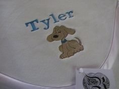 Custom Personalized Name and Puppy Fleece Baby by RiginalsByRuth, $70.00 ($6 shipping)