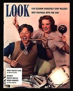 "Antique 1940 ""Look Magazine"" Mickey Rooney Judy Garland"