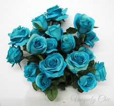 DIY Wedding bouquet Turquoise rose bush Wedding centerpiece
