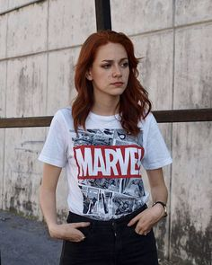 Marvel T- shirt, black jeans outfit, redhead Jeans And T Shirt Outfit, Black Jeans Outfit, Womens Marvel Shirt, Marvel T Shirt, Jean Outfits, Casual Outfits, Cute Outfits, College Outfits, Outfits For Teens