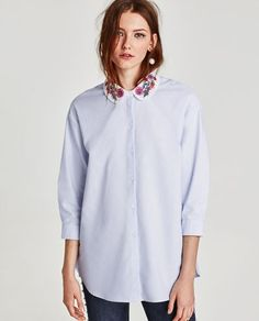 Oxford shirt with embroidery #zara