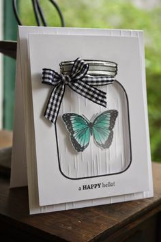"""Hey, everyone! Today I'm joining my Scor-Pal design team members in creating a project for our monthly, """"More Than One Score """" challenge. Mason Jar Cards, Mason Jars, Love Cards, Diy Cards, Shaker Cards, Butterfly Cards, Jar Crafts, Creative Cards, Greeting Cards Handmade"""