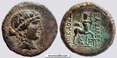 Moneda de 21 mm, acuñada en Nicomedeia entre 183/2 y el 149 a.C., durante el reinado de Prusias II.