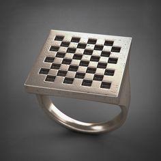 Square Ring - Dama - acciaio/argento/titanio di Printmyjewel su Etsy #printmyjewel @printmyjewel