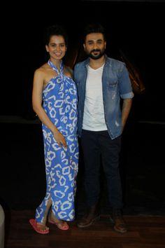 Actor Kangana Ranaut and Vir Das during the promotion of upcoming film Revolver Rani in Mumbai on April 17, 2014. (Photo : Arabinda Mahapatr...