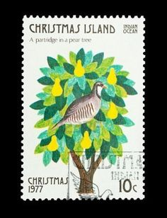 Christmas Island mail stamp featuring the first gift from the Twelve Days of Christmas
