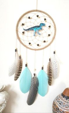 Dinosaur Nursery Dinosaur Baby Room TBoy Dream Catcher Fun Gift for Boys Dream Catcher Decor, Dream Catcher White, Large Dream Catcher, Dream Catcher Boho, Rustic Wall Decor, Rustic Walls, Baby Boy Gifts, Gifts For Boys, Dinosaur Nursery