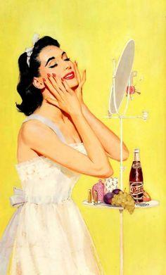 "Hello sunshine  ""Her Morning Regime"", Pepsi-Cola advertisement, 1956. Illustration by Wayne Blickenstaff"